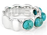 Blue turquoise rhodium over silver band ring