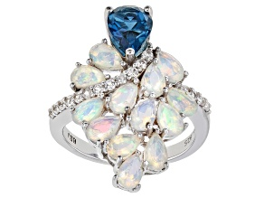 Multi-Color Opal Rhodium Over Silver Ring 2.73ctw