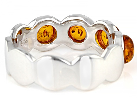 Orange amber rhodium over sterling silver band ring