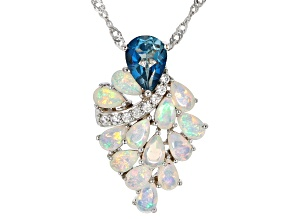 Blue topaz rhodium over silver pendant with chain 2.58ctw