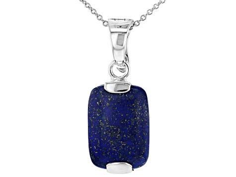 Blue lapis lazuli rhodium over silver enhancer with chain