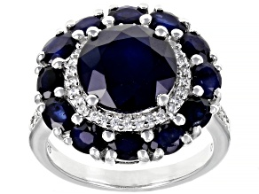 Blue Sapphire Rhodium Over Sterling Silver Ring 5.08ctw