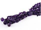 Purple amethyst sterling silver 3-strand bead necklace
