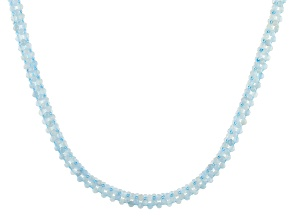 Blue Aquamarine Rhodium Over Silver Necklace