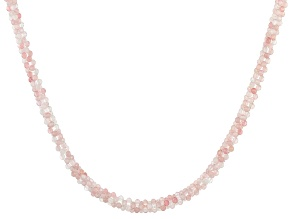 Pink Rose Quartz Rhodium Over Silver Necklace