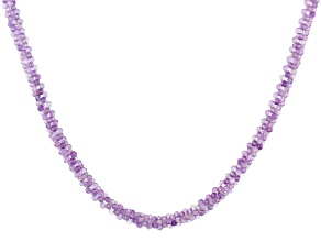 Purple Rose de France Amethyst Rhodium Over Silver Necklace