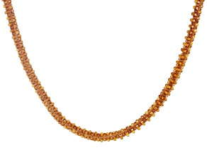 Orange Hessonite Rhodium Over Silver Necklace