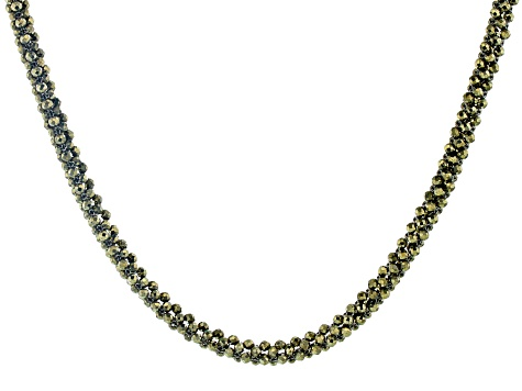 Gray Pyrite Rhodium Over Silver Necklace