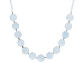 Aquamarine Rhodium Over Sterling Silver Strand Bead Necklace. 9-11mm x 3-5mm