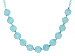 Blue Amazonite Rhodium Over Sterling Silver Bead Necklace