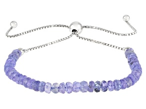 Blue Tanzanite Rhodium Over Silver Bolo Bracelet