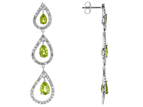 Green Peridot Rhodium Over Silver Earrings 6.36ctw