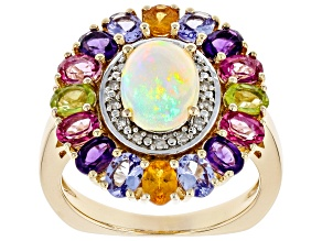 Multi-color Ethiopian Opal 18k Gold Over Silver Ring 3.65ctw