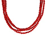 Red Coral Rhodium Over Sterling Silver 4-Strand Necklace