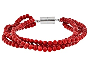 Red Coral Rhodium Over Sterling Silver 4-Strand Bracelet