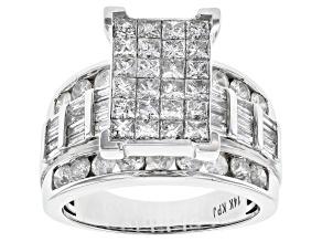 White Diamond 14k White Gold Quad Ring 4.00ctw