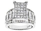 4ctw Princess Cut, Round And Baguette Genuine Diamond 14k White Gold Ring