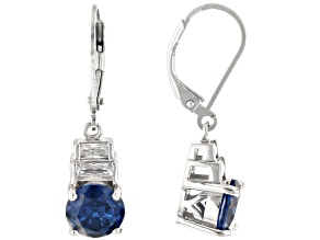 Blue Lab Created Spinel Rhodium Over Sterling Silver Earrings 3.32ctw