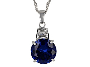 Blue Lab Created Spinel Rhodium Over Sterling Silver Pendant Chain 6.06ctw