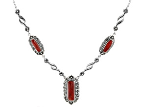 Red Coral Sterling Silver Necklace.