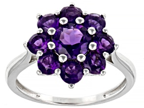 Purple Amethyst Rhodium Over Sterling Silver Ring 1.68ctw
