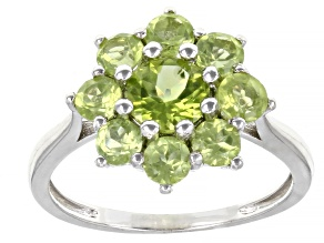 Green Manchurian Peridot™ Rhodium Over Sterling Silver Ring. 2.06ctw