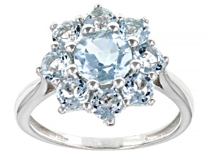 Blue Topaz Rhodium Over Sterling Silver Ring 2.42ctw