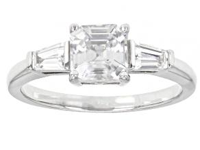 White Zircon Rhodium Over Sterling Silver 3-Stone Ring. 1.60ctw