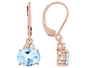 Blue Topaz  18k Rose Gold Over Sterling Silver Earrings 3.17ctw