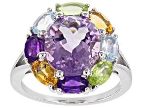 Lavender Amethyst Rhodium Over Silver Ring 4.59ctw