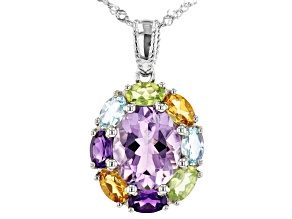 Lavender Amethyst Rhodium Over Silver Pendant With Chain 4.59ctw