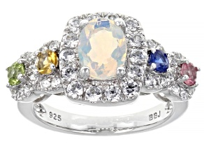 Multi Color Ethiopian Opal Rhodium Over Sterling Silver Ring. 2.02ctw