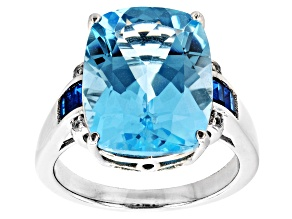 Sky Blue Topaz, Lab Blue Spinel & Lab White Sapphire Rhodium Over Sterling Silver Ring 10.75ctw