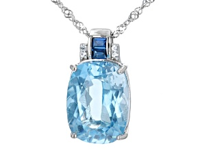 Blue Topaz Rhodium Over Sterling Silver Pendant With Chain. 10.37ctw