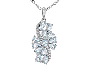 Blue Aquamarine Rhodium over Sterling Silver Pendant With Chain. 2.45ctw