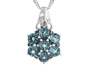 Blue Lab Created Alexandrite Rhodium Over Sterling Silver Pendant Chain 1.52ctw