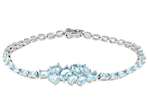 Sky Blue Topaz Rhodium over Sterling Silver Bracelet 9.28ctw