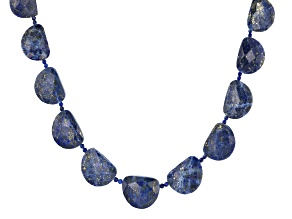 Blue Lapis Lazuli Rhodium Over Sterling Silver Necklace.