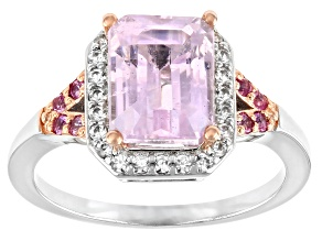 Pink Kunzite Rhodium Over Sterling Silver Ring 2.84ctw