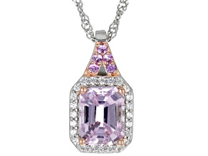 Pink Kunzite Rhodium Over Sterling Silver Pendant Chain 2.79ctw
