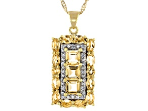 Yellow Citrine 18k Yellow Gold Over Sterling Silver Pendant With Chain 3.95ctw