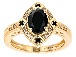 Black Spinel  18k Yellow Gold Over Sterling Silver Ring 1.53ctw