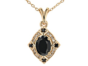 Black Spinel 18K Yellow Gold Over Silver Pendant With Chain 1.50ctw
