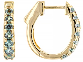 Blue Lab Alexandrite 18K Yellow Gold Over Sterling Silver Huggie Earrings. 1.23ctw