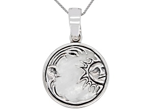 25mm Round Cabochon Moonstone Sun and Moon Rhodium Over Sterling Silver Pendant.