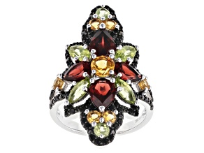 Round Citrine, Pear Shaped Garnet, Mixed Peridot With Black Spinel Rhodium Over Silver Ring 4.65ctw