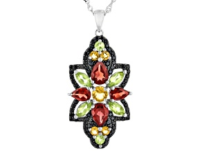 Yellow Citrine, Garnet, Peridot With Black Spinel Rhodium Over Silver Pendant With Chain 4.52ctw