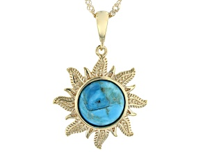 Blue Turquoise 18k Yellow Gold Over Silver Pendant With Chain