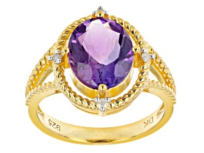 Oval African Amethyst With White Diamond Accent 18K Yellow Gold Over Silver Ring 3.01ctw