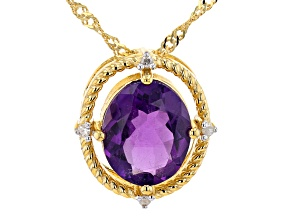 African Amethyst With White Diamond 18K Yellow Gold Over Silver Necklace 2.83ctw